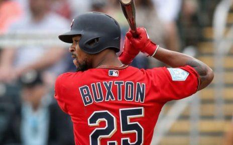 Byron Buxton bats during Spring Training.