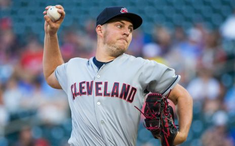 Trevor Bauer on the mound for the Cleveland team.