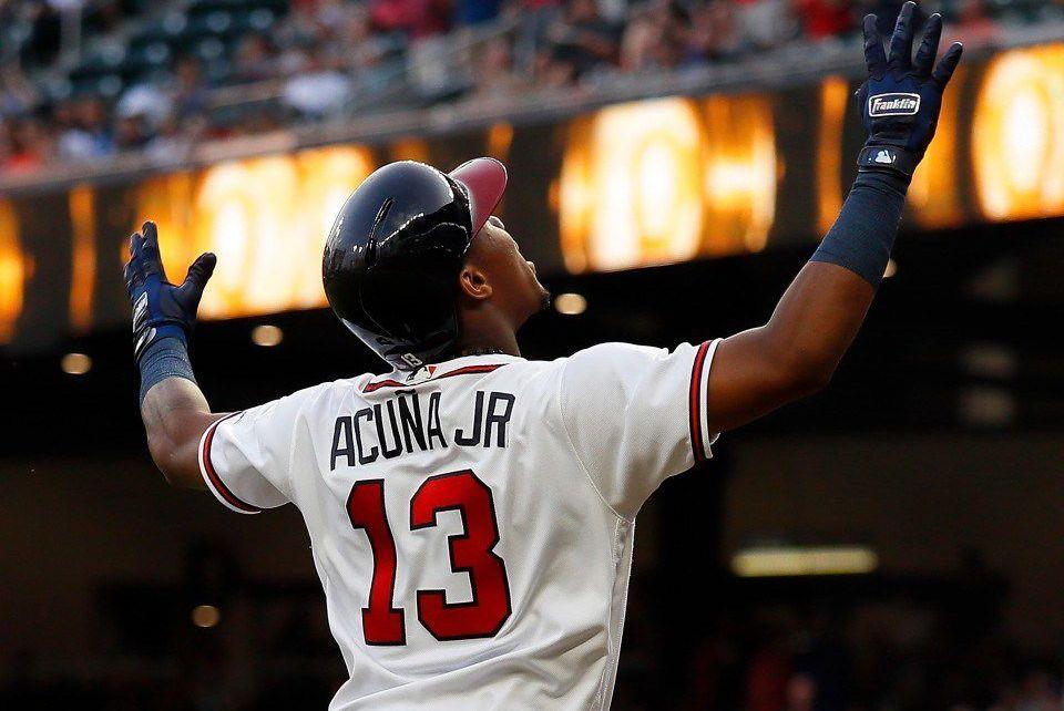 Ronald Acuña Jr. celebrates for Atlanta.