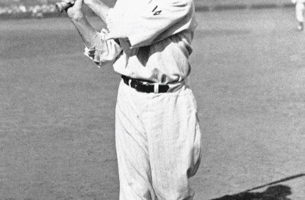 Sam Rice posing for a picture with the Washington Senators.