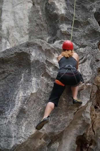 Me, climbing in Lan Ha Bay
