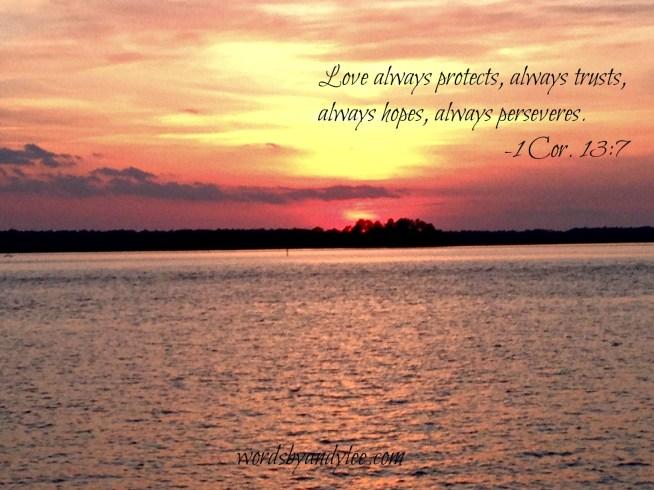 1 Cor. 13.7 sunset