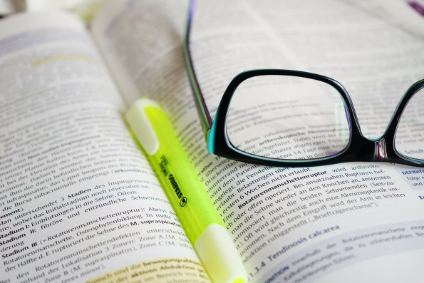 bible, glasses, highlighter