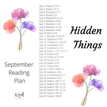 Bible Reading Plan Hidden Things