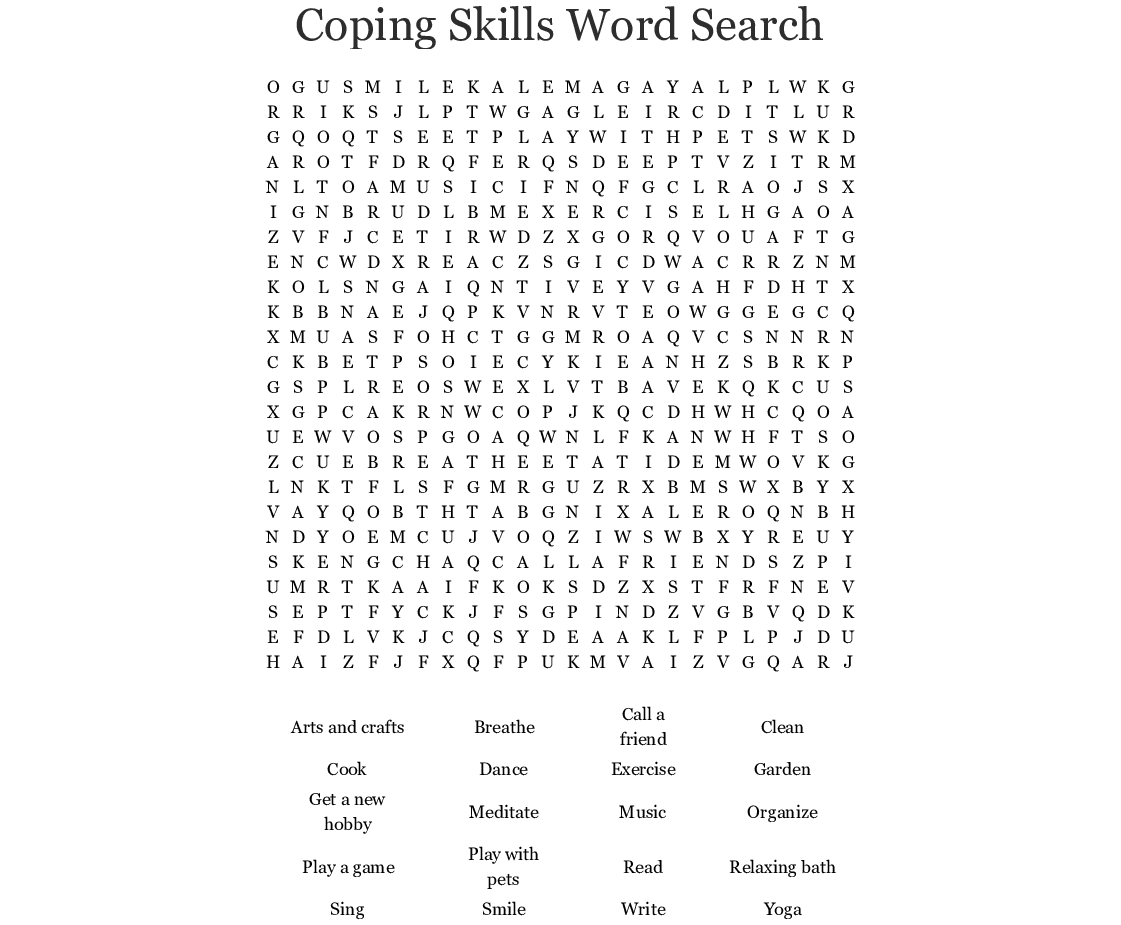 Coping Skills Word Search