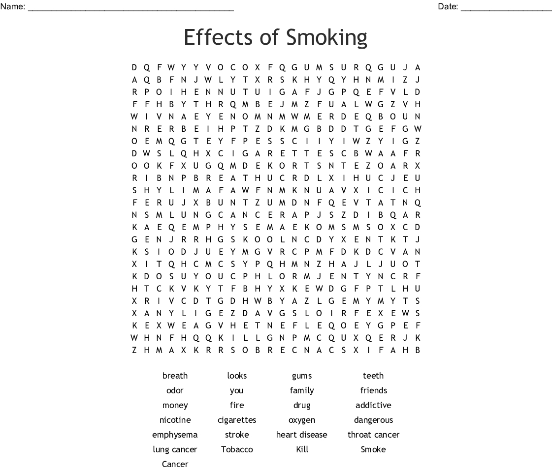 Tobacco Word Search Printable