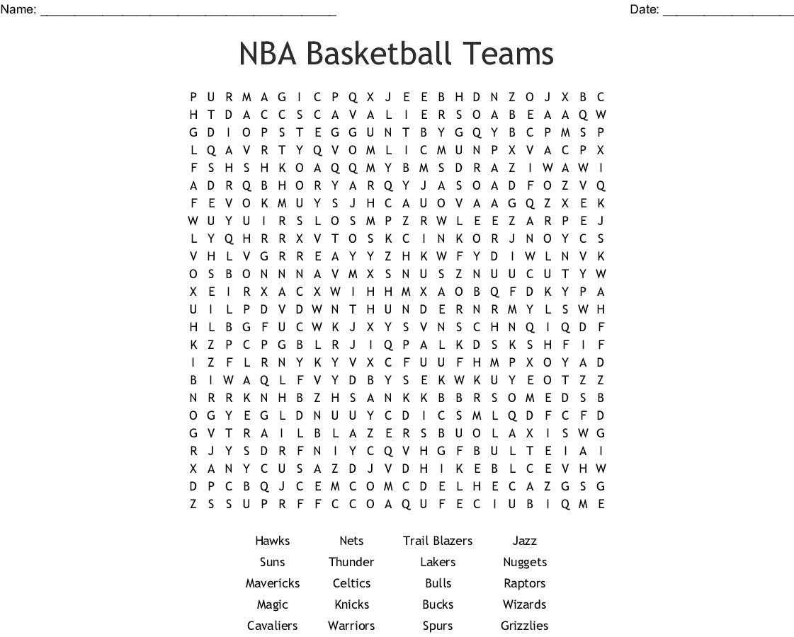 Nba Word Search Printable