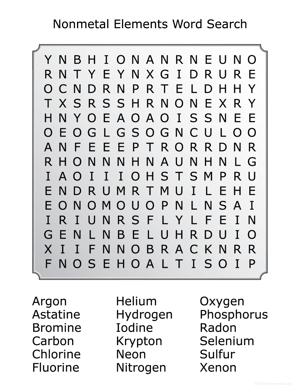 Elements Of The Periodic Table Word Search