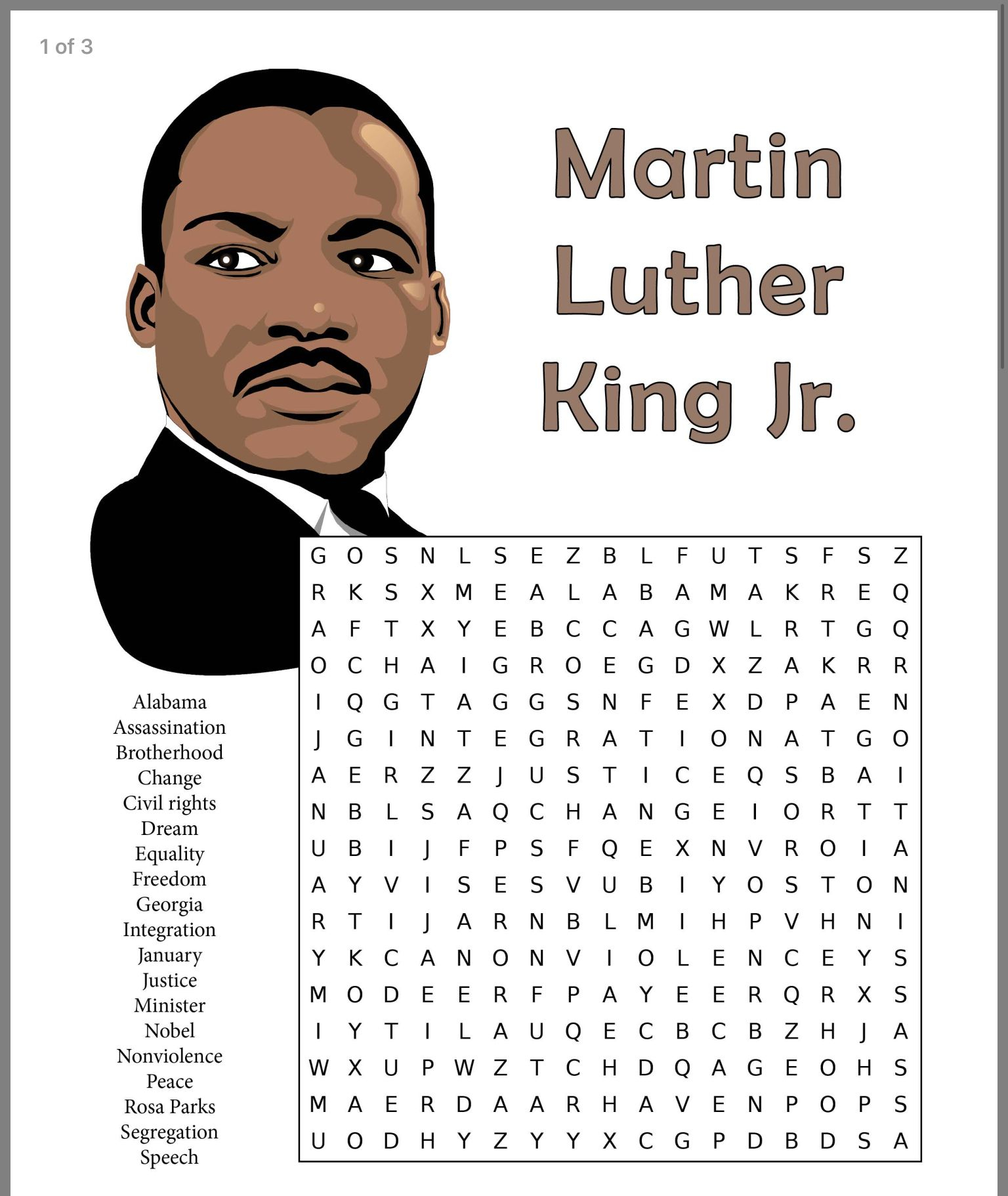 Martin Luther King Jr Printable Word Search