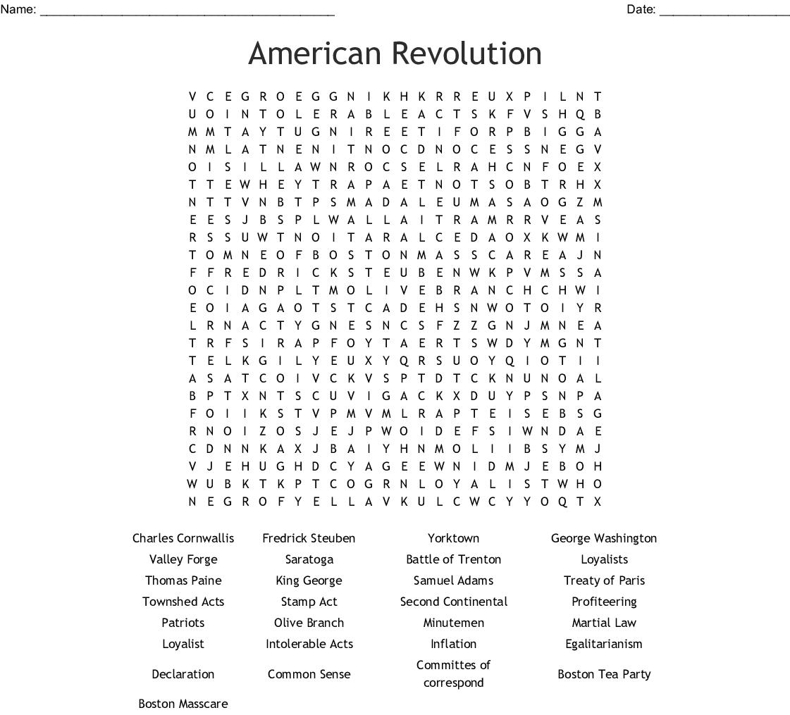 Revolutionary War Word Search Printable