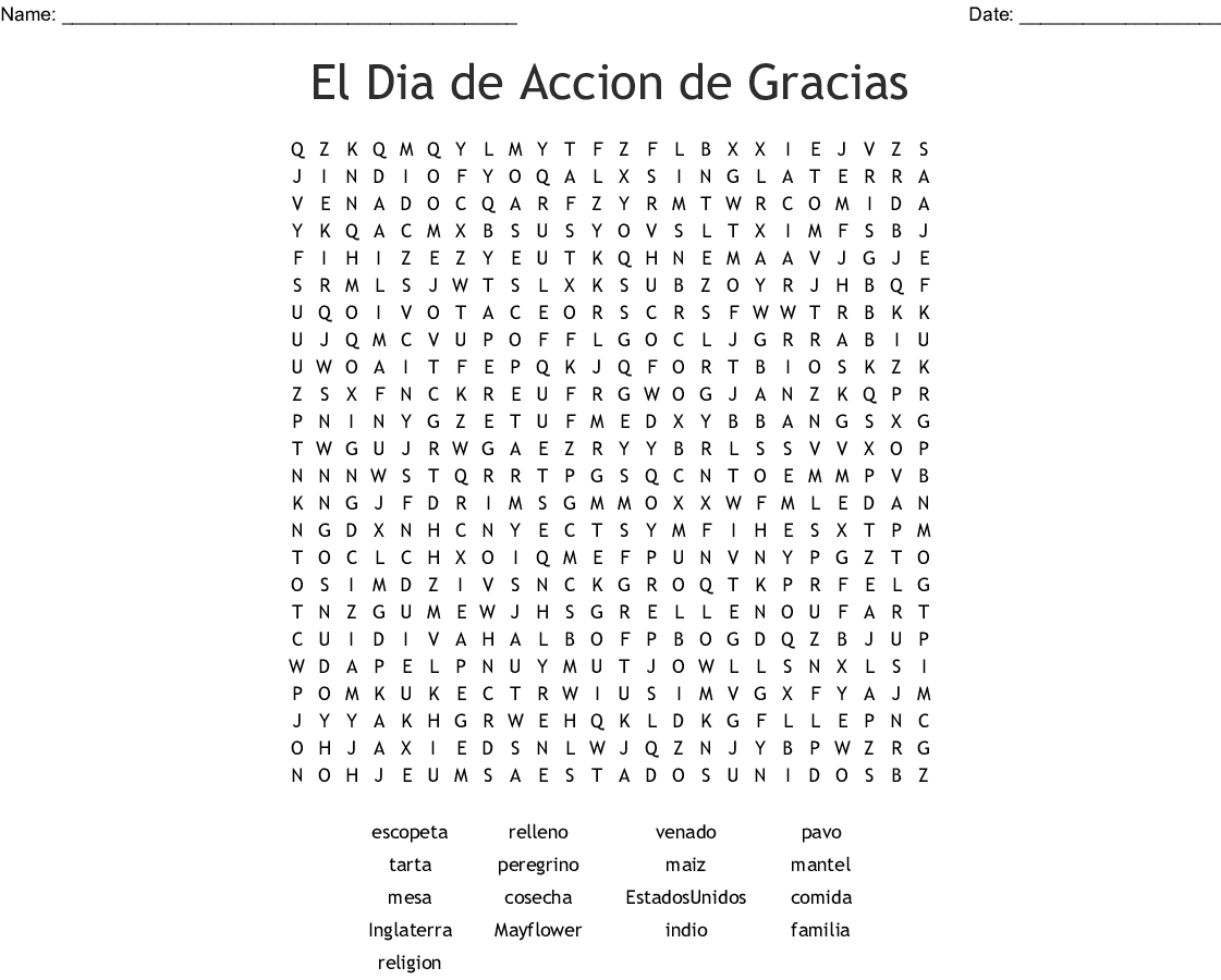 Spanish Thanksgiving Word Search Printable