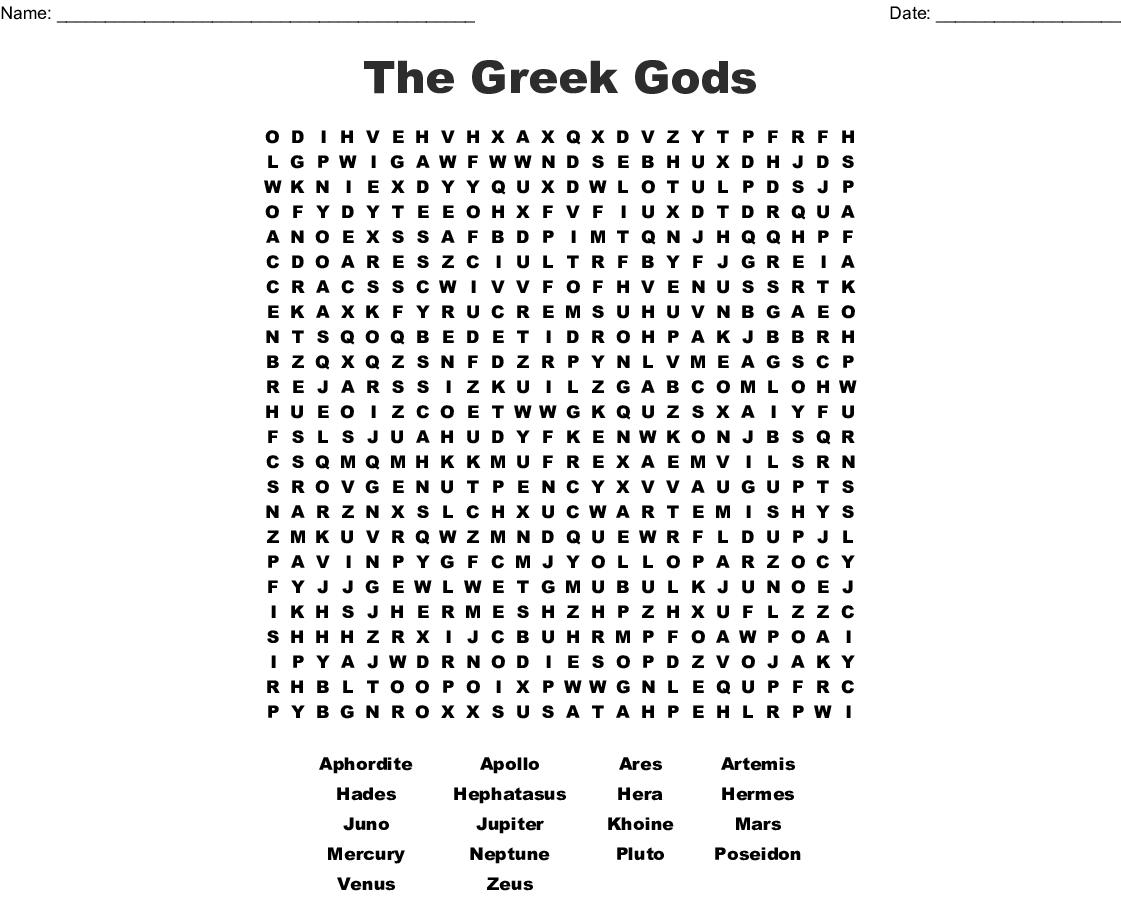 Greek Mythology Word Search Printable