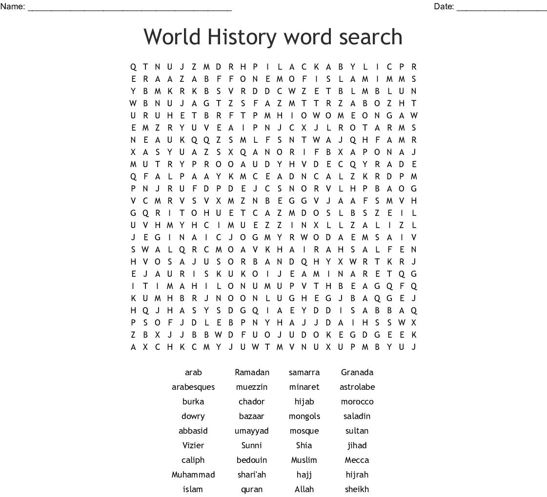 World History 1 Crossword Puzzle