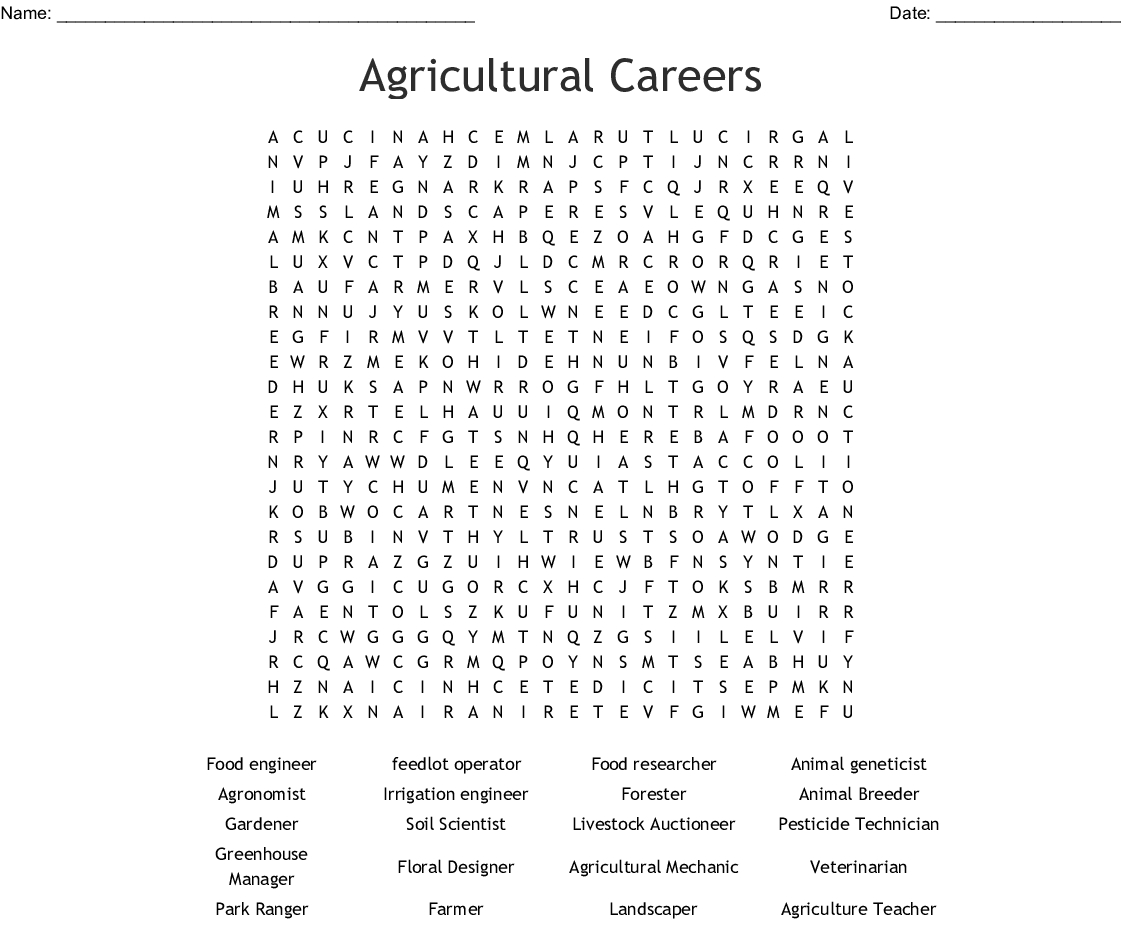 Agriculture Word Search
