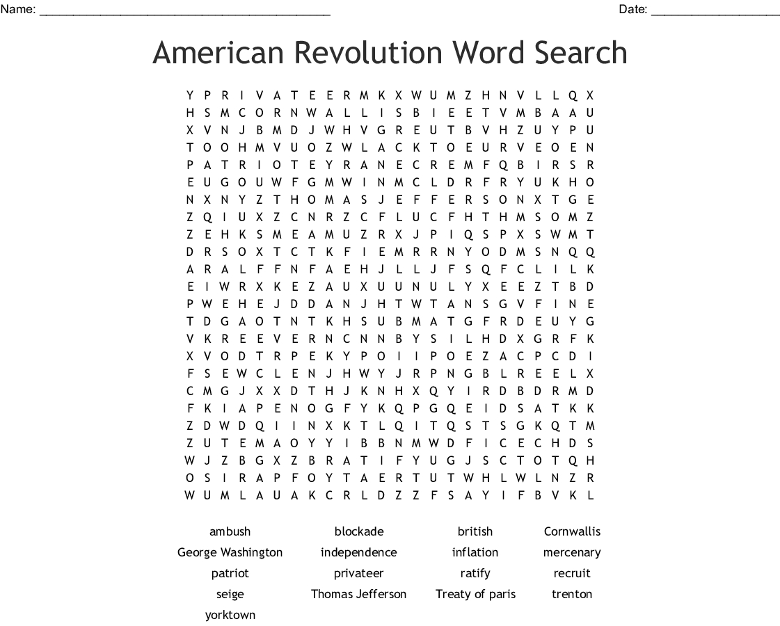 American Revolution Word Search Printable