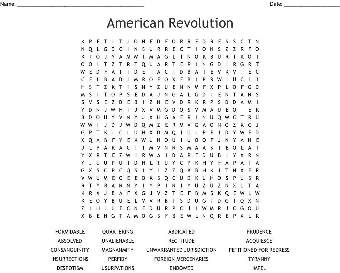 American Revolution Word Search Printable