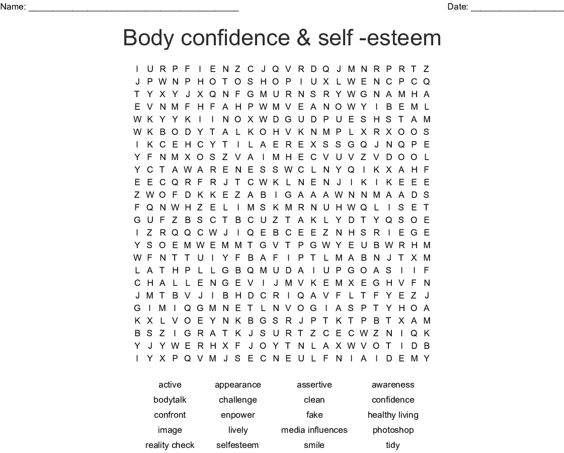 Self Esteem Word Search Printable