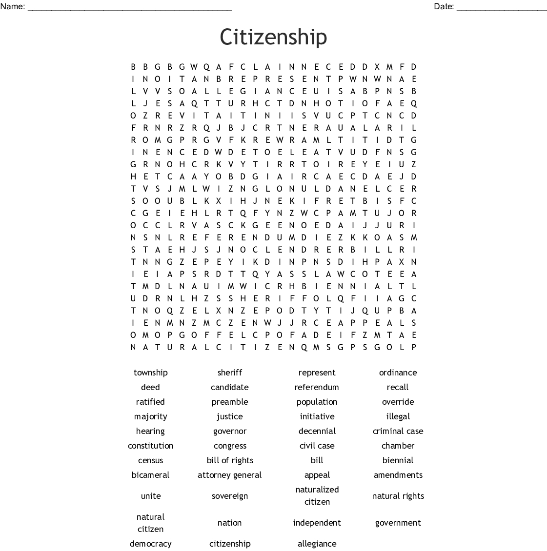 Civics Eoc Word Search