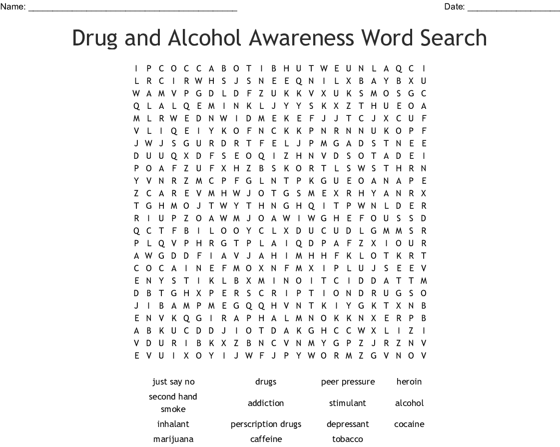 Drugs And Alcohol Word Search Printable