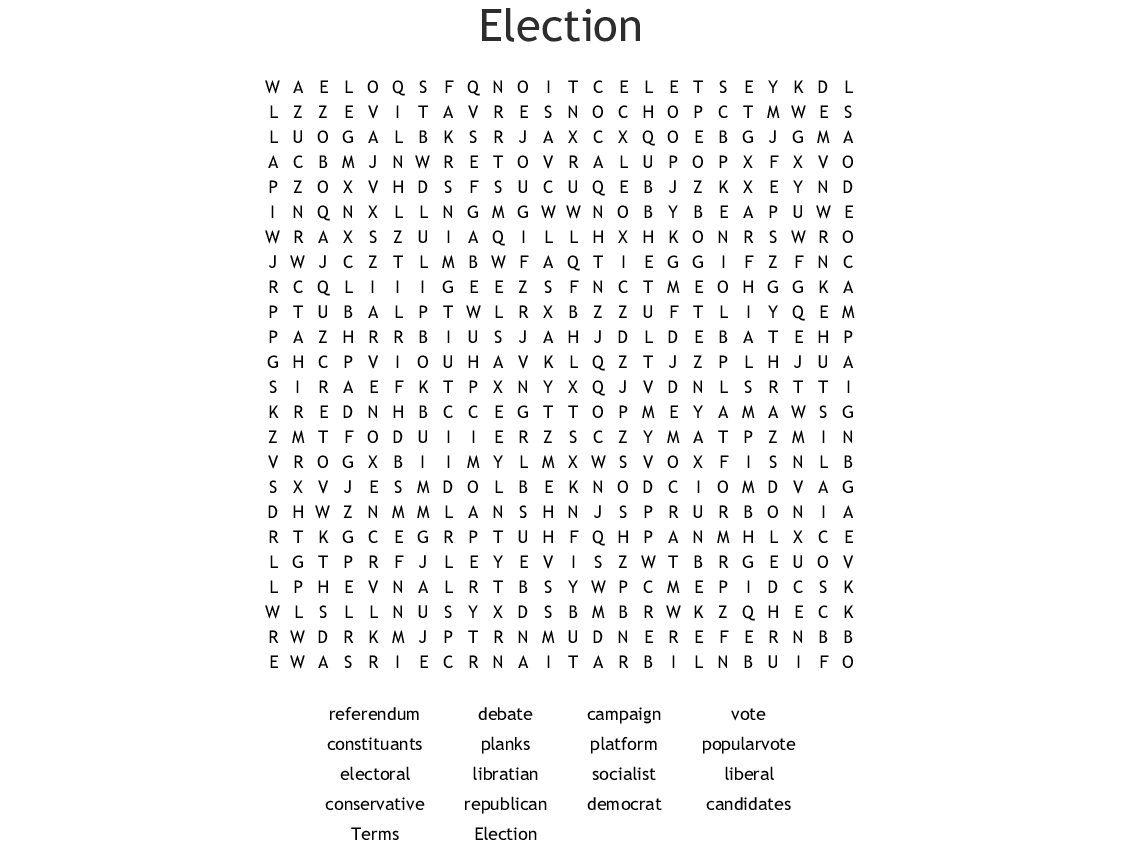 Election Word Search Wordmint