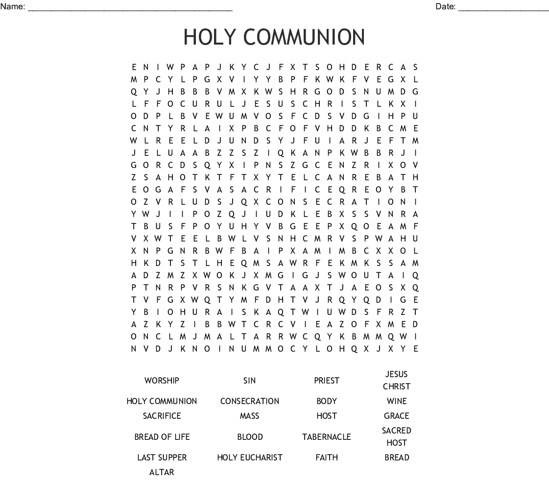 First Communion Word Search Printable