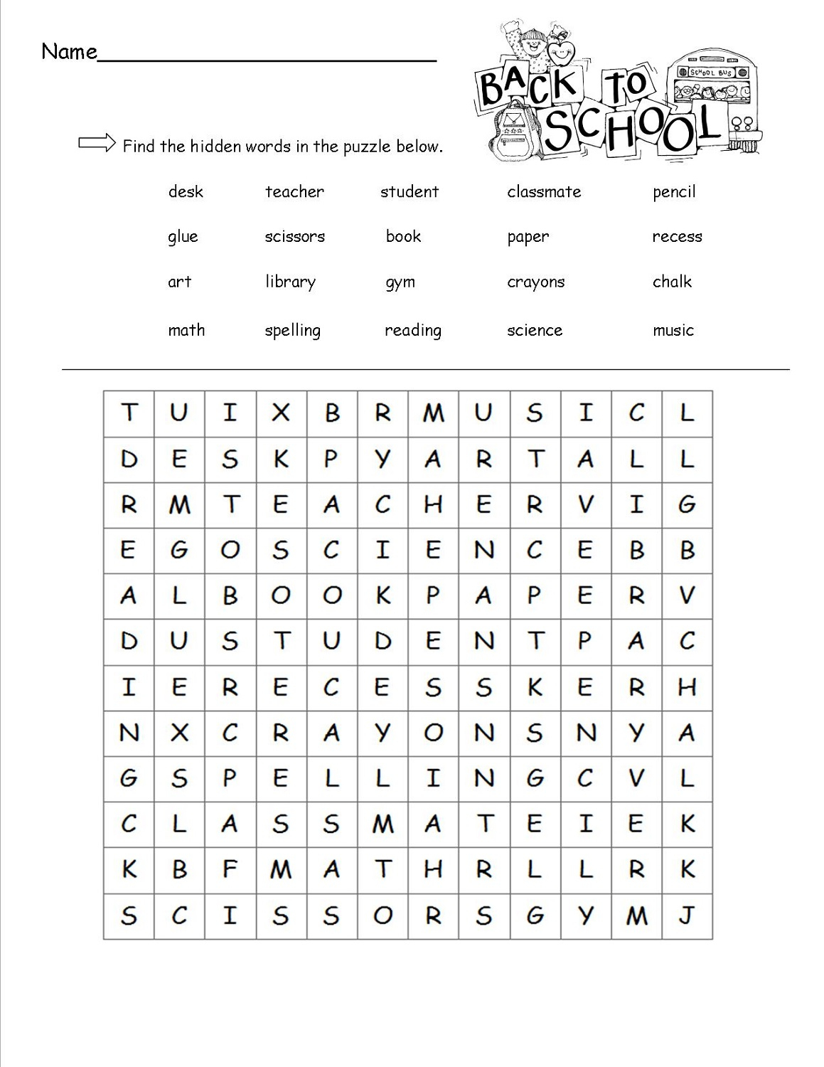 Free Printable Kindergarten Word Search Worksheets