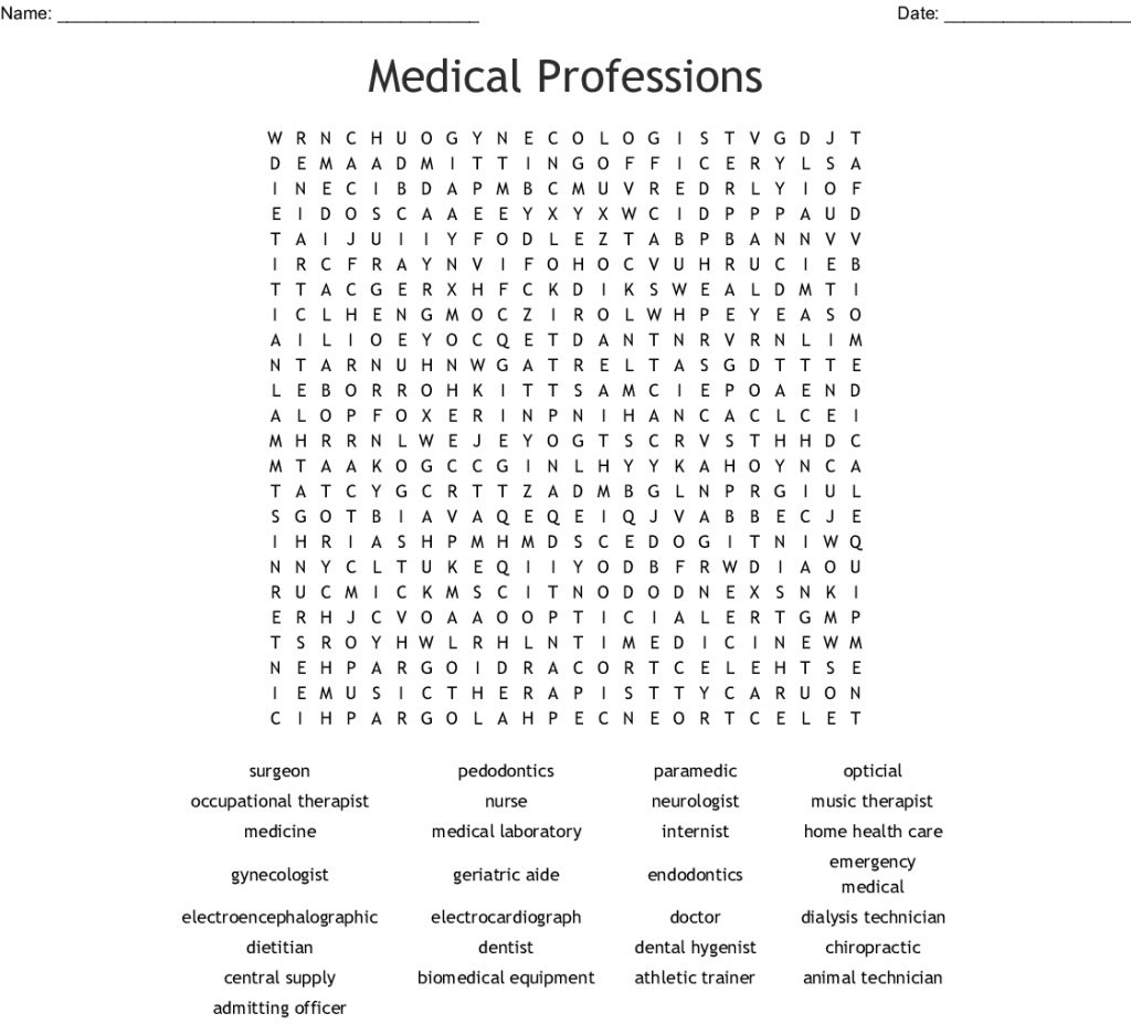 Medical Professions Word Search