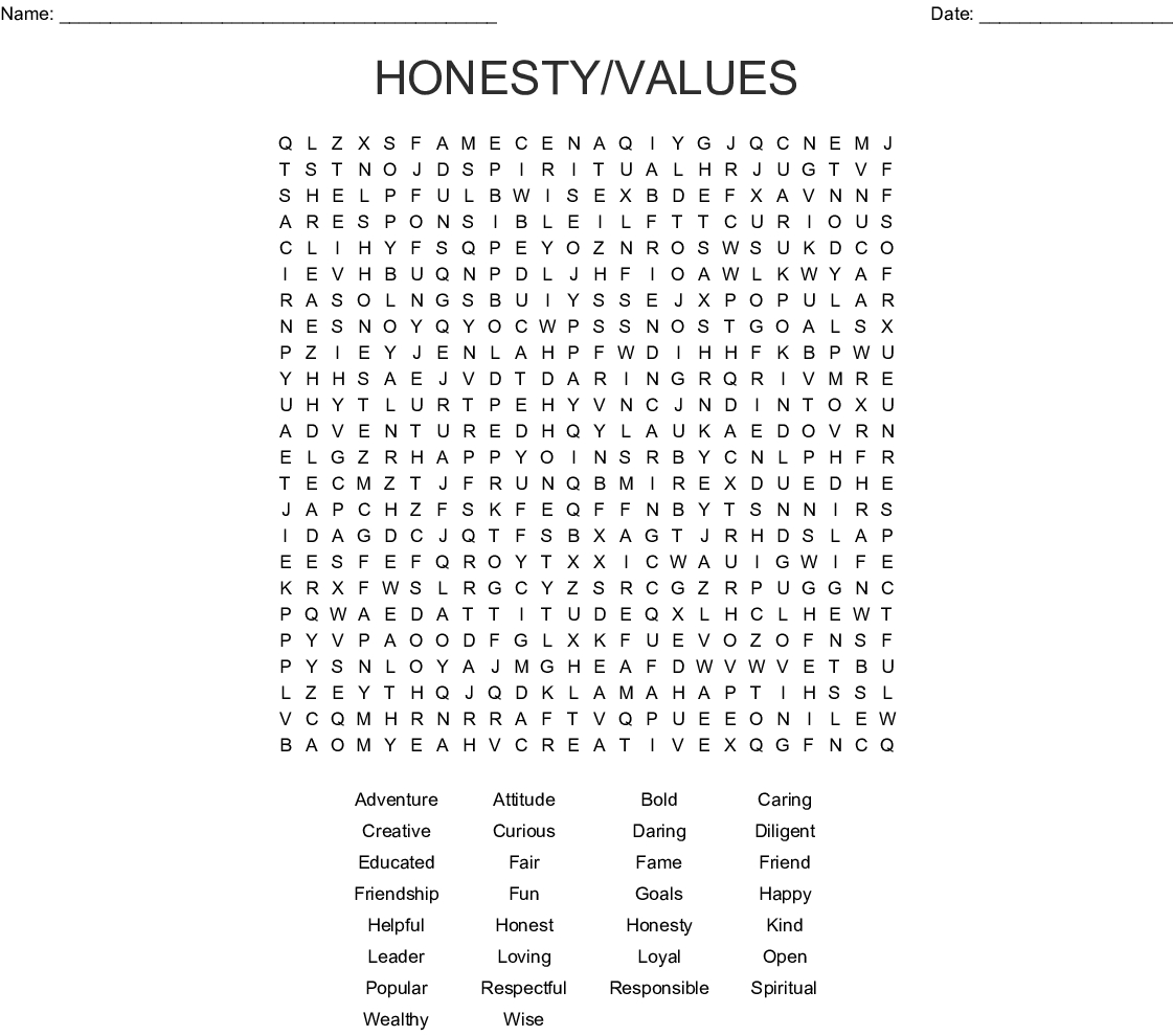 Printable Positive Word Search Puzzle