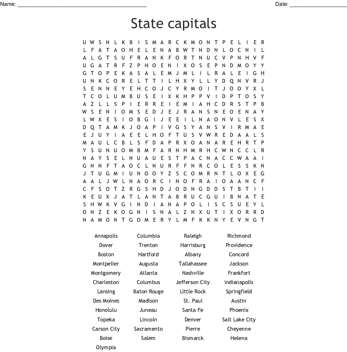 Fifty States Word Search Printable