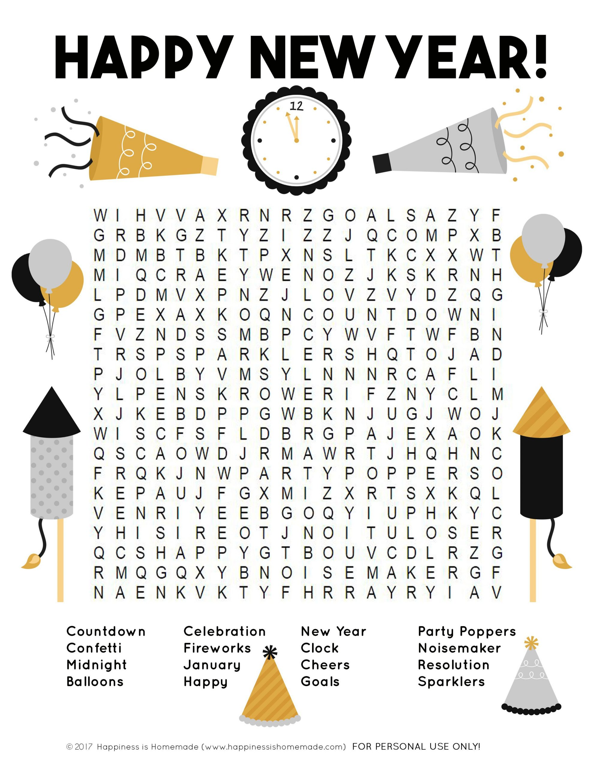 New Year S Word Search Free Printable