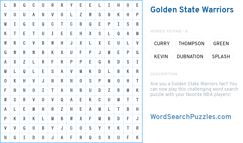 Golden State Warriors Word Search Puzzle