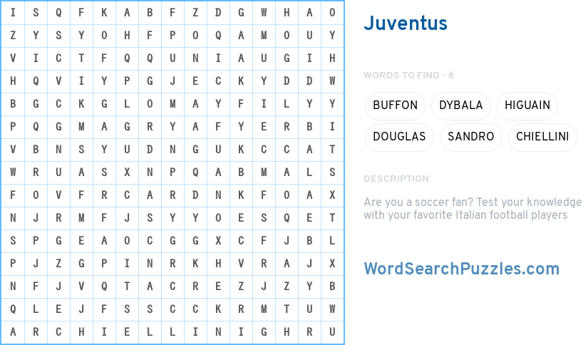 Juventus Word Search Puzzle Wordsearchpuzzles Com