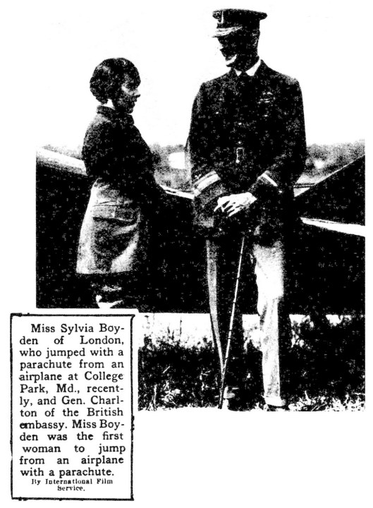 Sylvia Boyden, first woman to jump from an airplane with a parachude (1919)