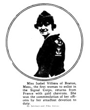 Isabel Villiers, first woman to enlist in the Signal Corps. (1919)