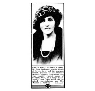 Dr. Amy Kankonen, Ohio's first woman mayor. (1921)