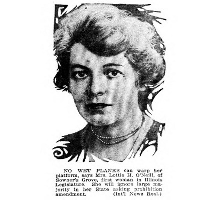 Lottie H. O'Neill, first woman in the Illinois legislature. (1922)