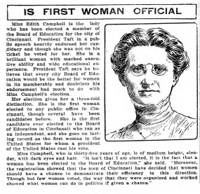 Edith Campbell, first woman on the Cincinnati Board of Education (1912)