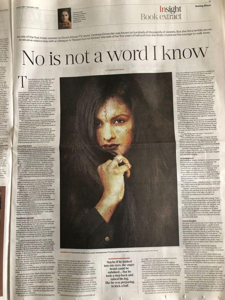 vanessa govender, beaten but not broken, author