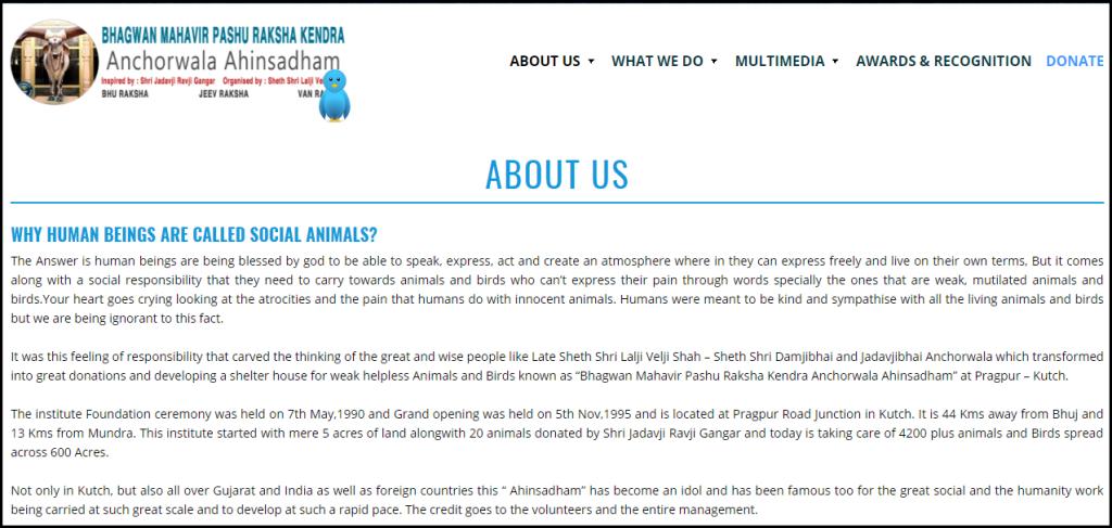 Content Writing Portfolio About Us Page Ahinsadham