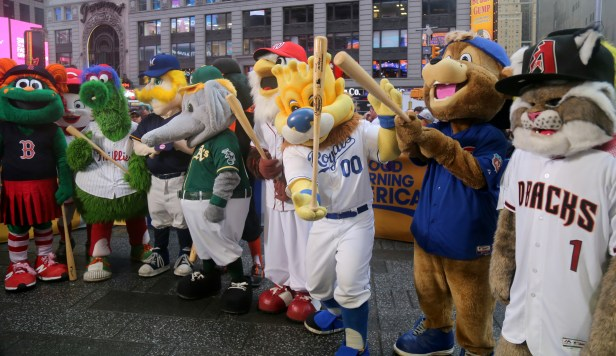 Mascots having fun outside the Good Morning America set.