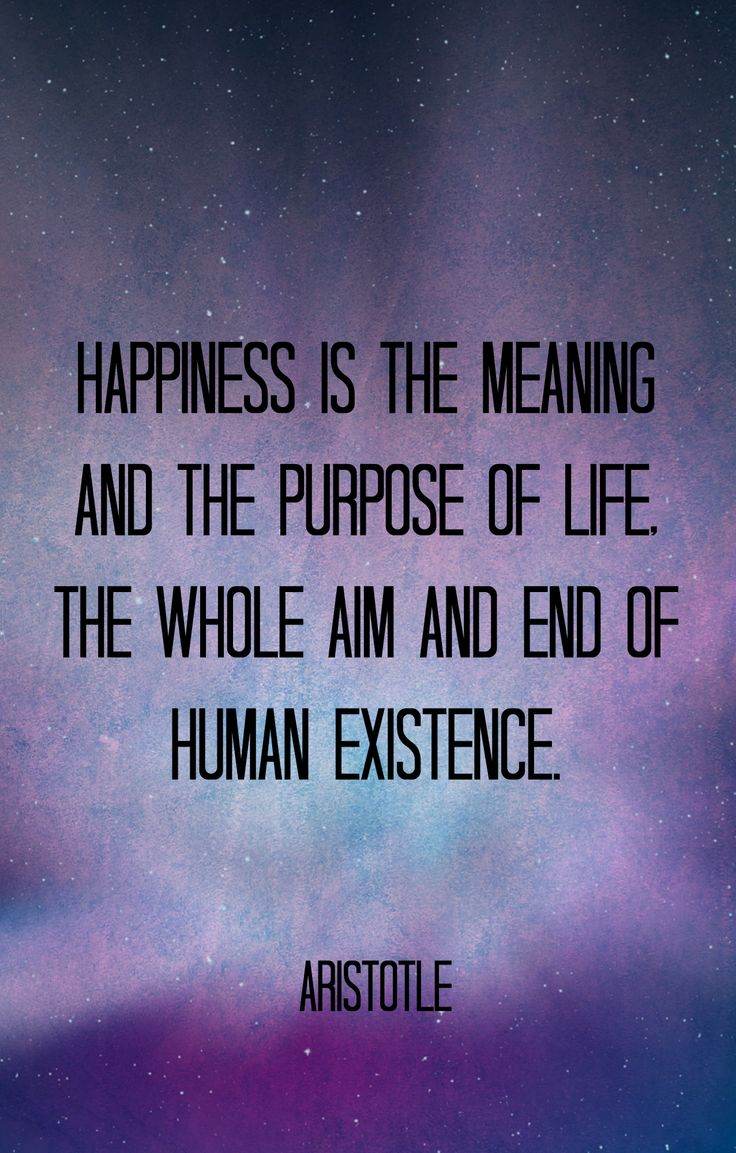 Happiness is the meaning and the purpose of life. The whole aim and end of human existence. - Aristotle