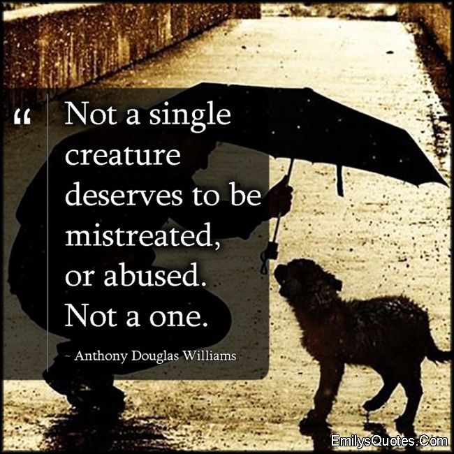 Not a single creature deserves to be mistreated, or abused. Not a one. - Anthony Douglas Williams
