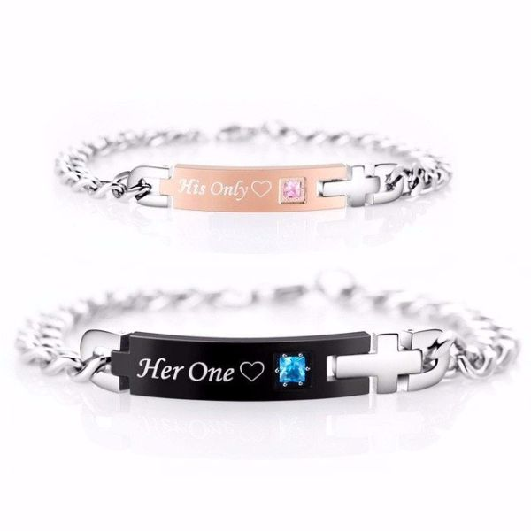 'His Only' and 'Her One' Couple Chain Bracelet