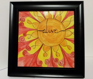 "Original 8x8 Watercolor Painting with Calligraphy, ""alive"""