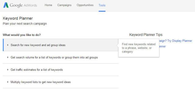 Ferramenta do planejador de palavras-chave do AdWords
