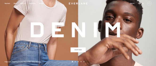 Marketing ético Everlane homepage
