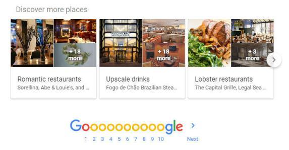 Marketing hiperlocal Google SERP Descubra mais lugares