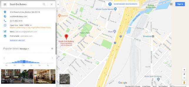 Exemplo de listagem do Google My Business para marketing hiperlocal