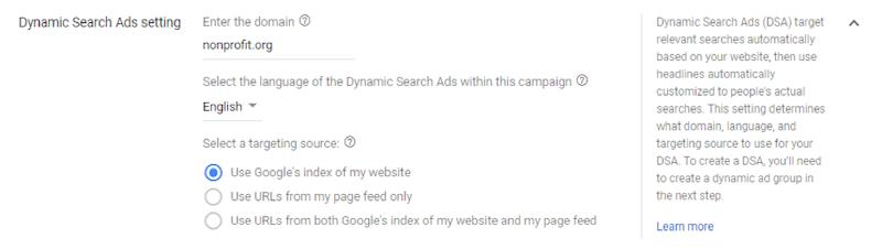 Google ads grants dynamic search ad settings