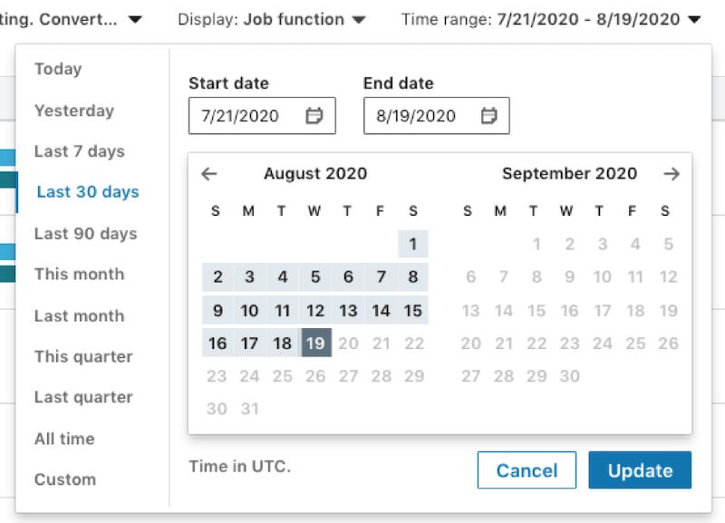 LinkedIn Website Demographics date range